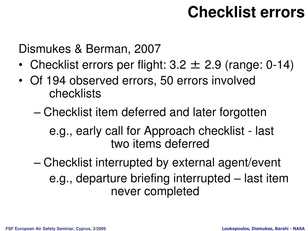 Checklist errors