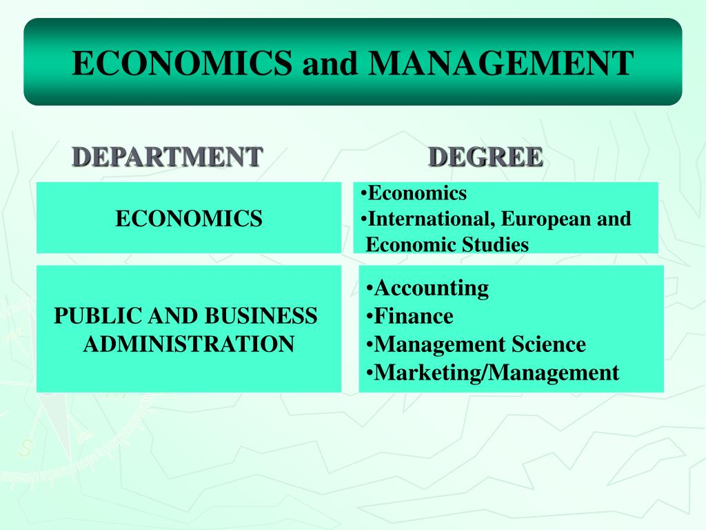 ECONOMICS and MANAGEMENT