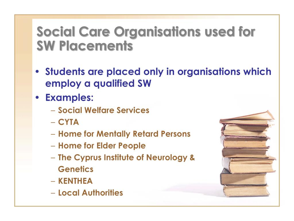 Social Care Organisations used for SW Placements