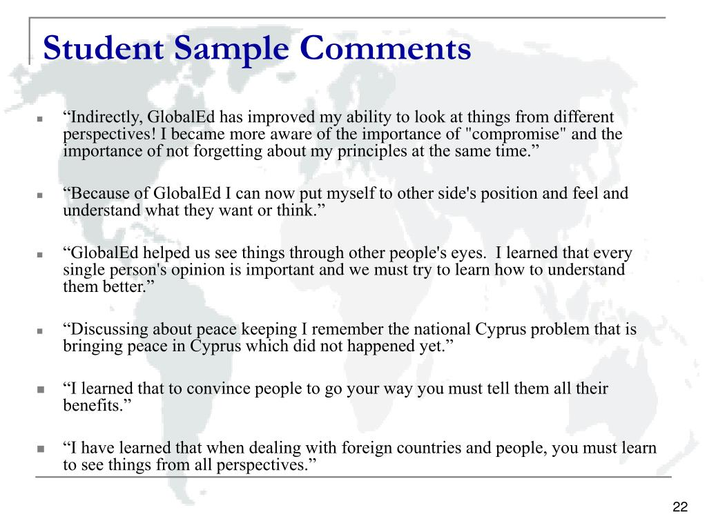 Student Sample Comments