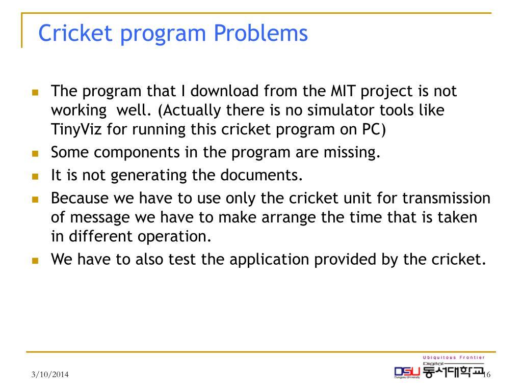 Cricket program Problems