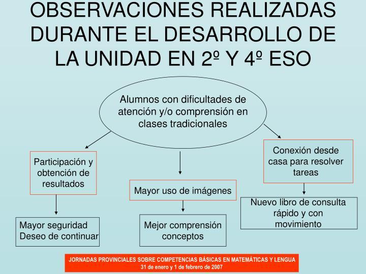 OBSERVACIONES REALIZADAS DURANTE EL DESARROLLO DE LA UNIDAD EN 2º Y 4º ESO