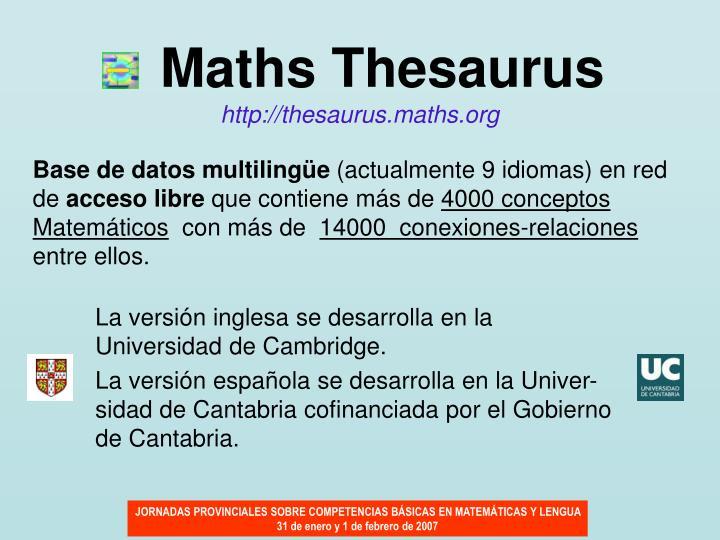 Maths Thesaurus
