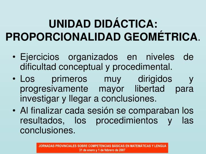 UNIDAD DIDÁCTICA: PROPORCIONALIDAD GEOMÉTRICA