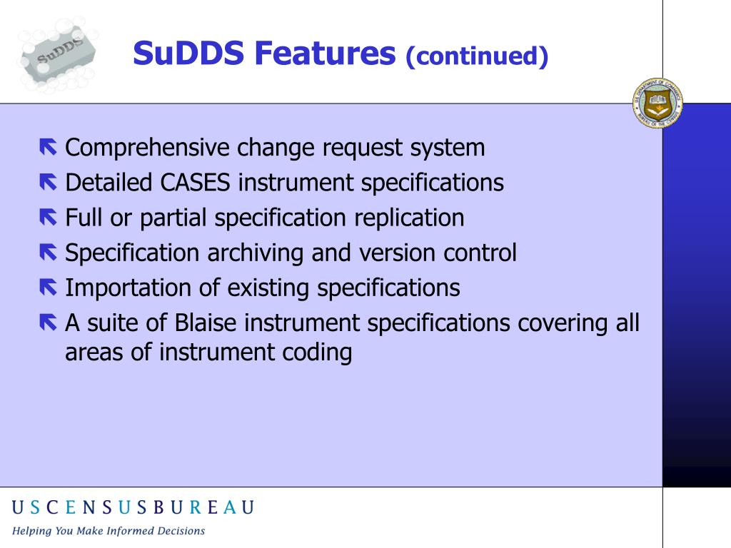 SuDDS Features