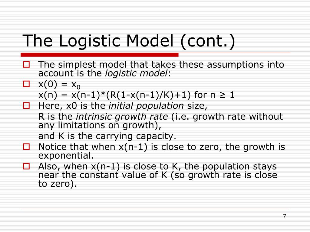 The Logistic Model (cont.)