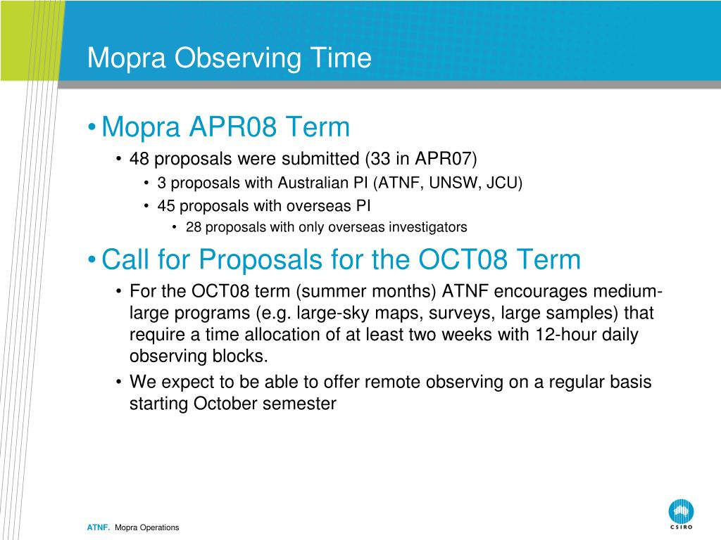 Mopra Observing Time