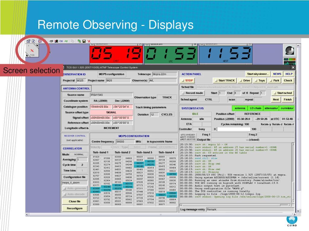 Remote Observing - Displays