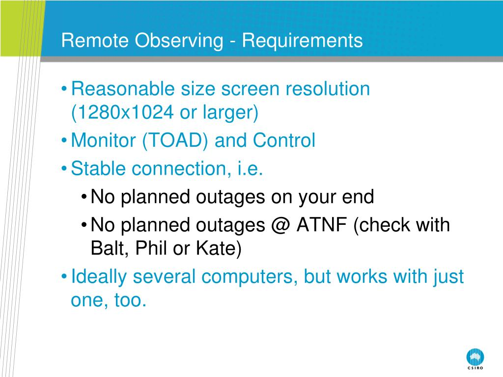 Remote Observing - Requirements