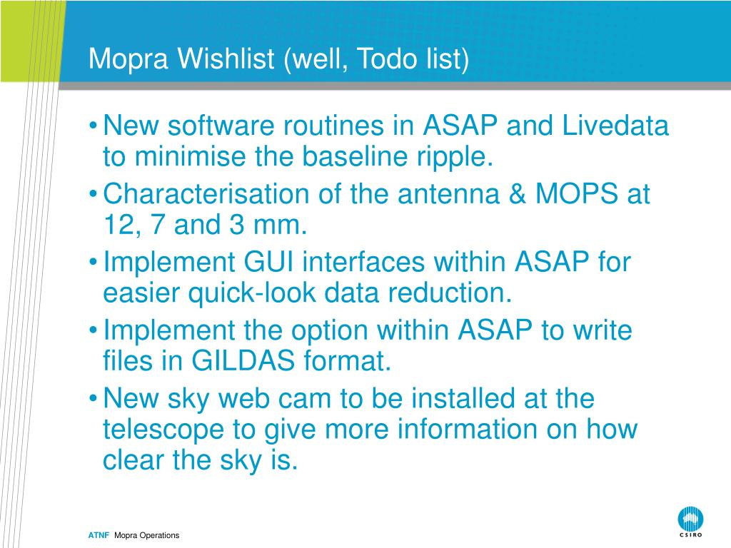 Mopra Wishlist (well, Todo list)