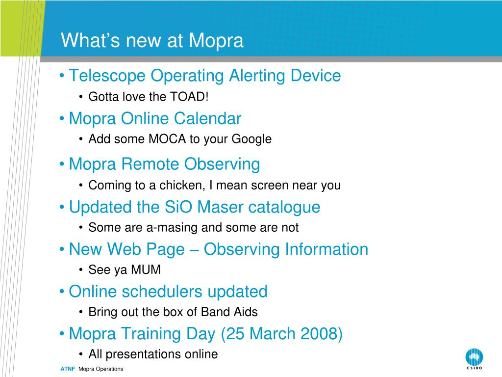 What's new at Mopra