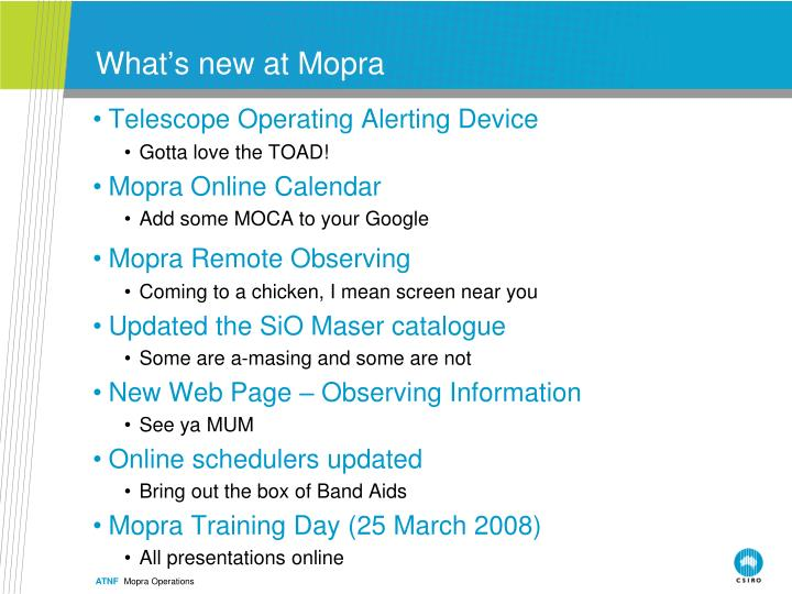 What s new at mopra