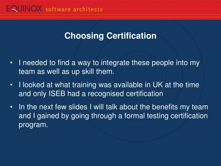 Choosing Certification