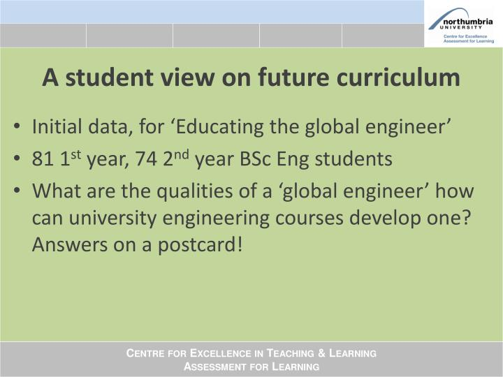 A student view on future curriculum