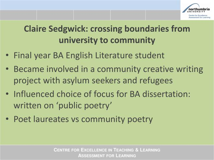 Claire Sedgwick: crossing boundaries from university to community