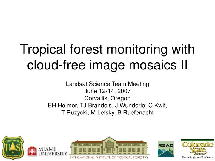 Tropical forest monitoring with cloud free image mosaics ii