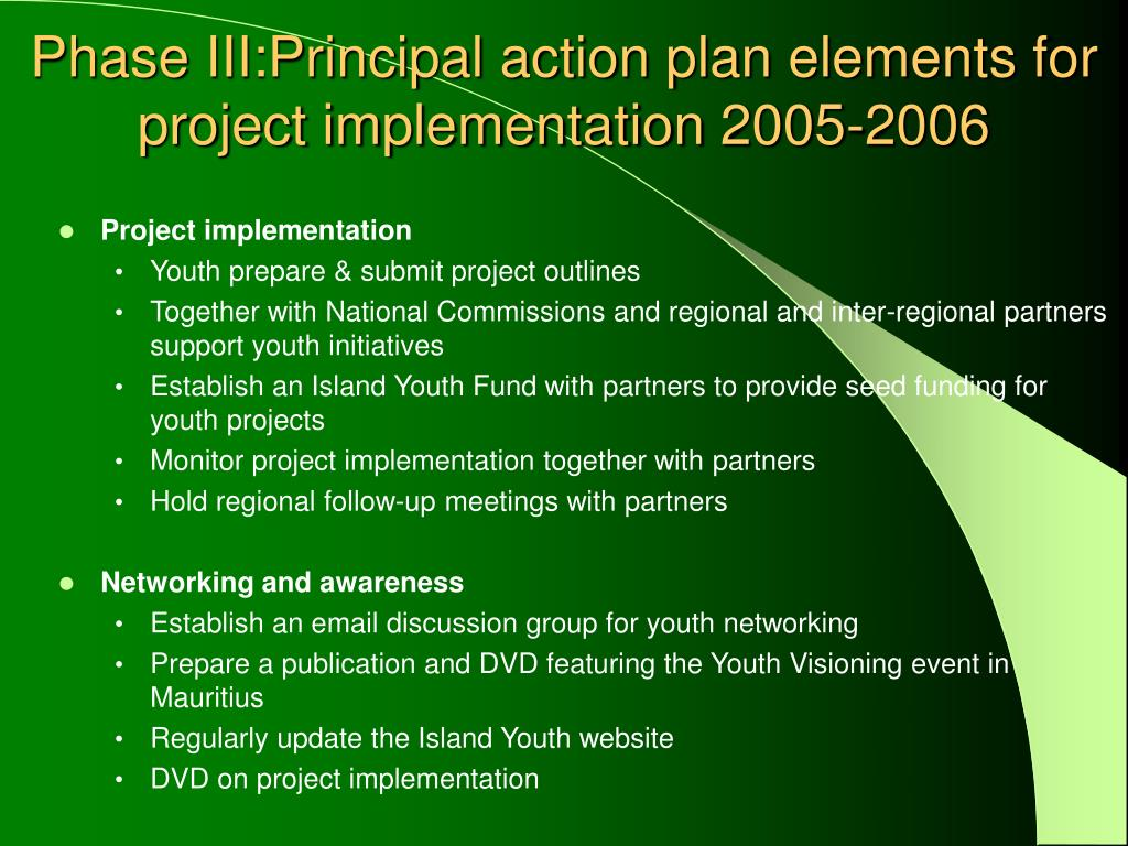 Phase III:Principal action plan elements for