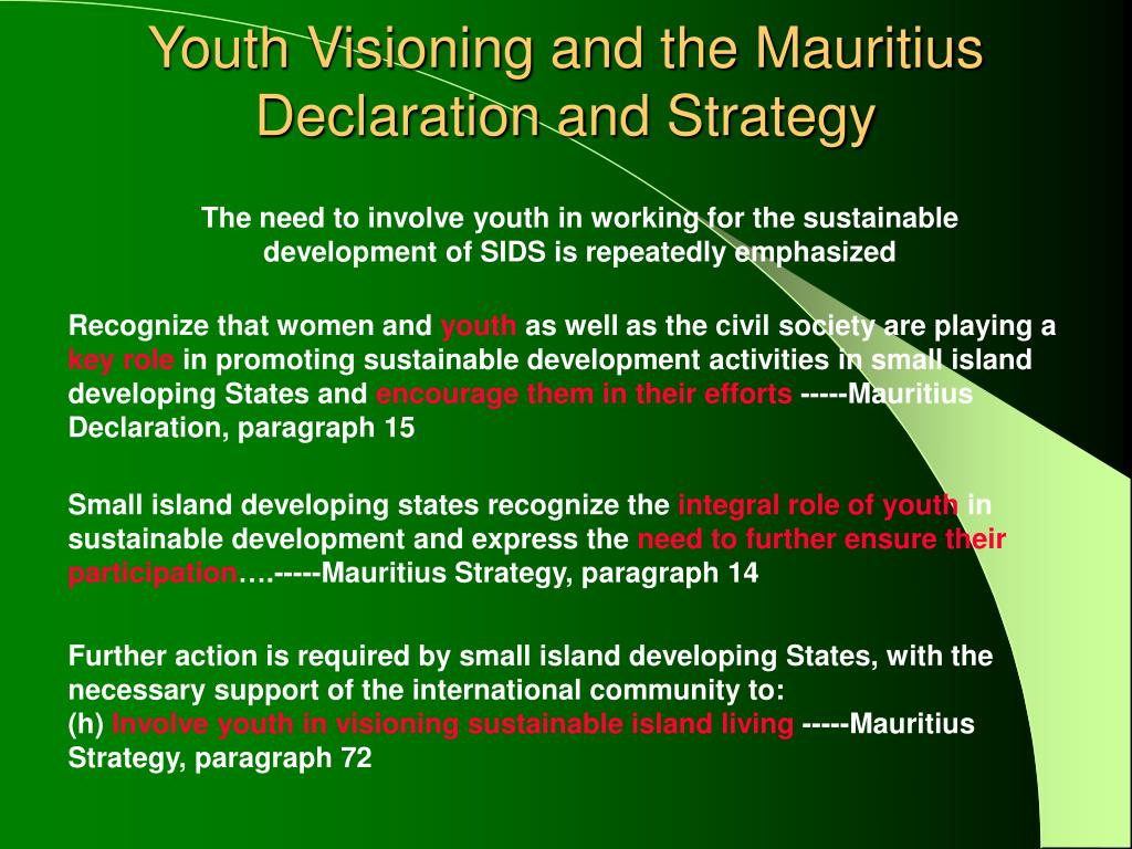 Youth Visioning and the Mauritius Declaration and Strategy