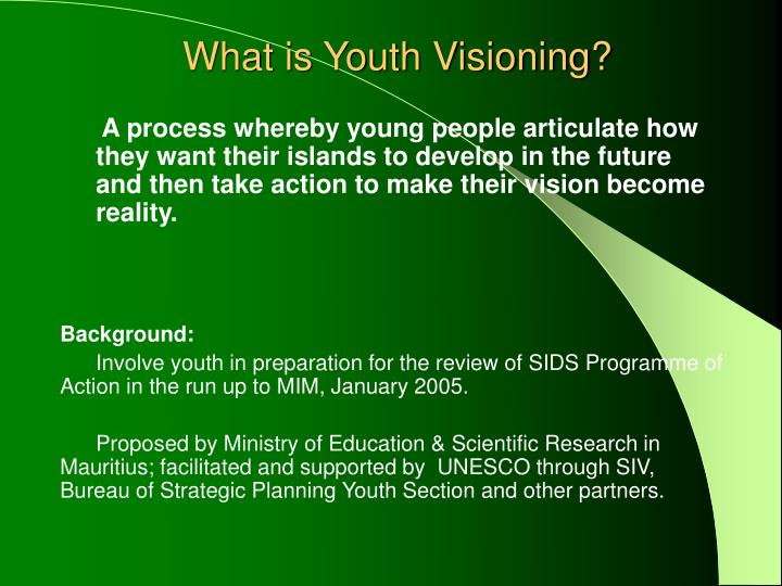 What is youth visioning