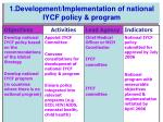 1 development implementation of national iycf policy program
