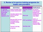 5 review of in service training programs for health care providers