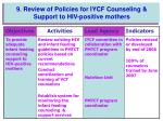 9 review of policies for iycf counseling support to hiv positive mothers