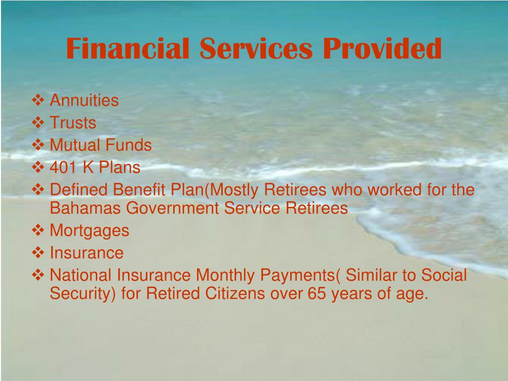 Financial Services Provided