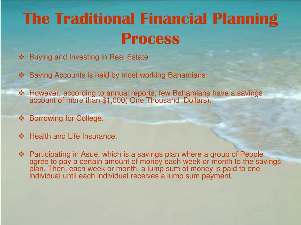The Traditional Financial Planning Process