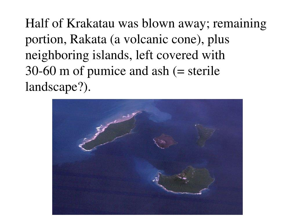 Half of Krakatau was blown away; remaining portion, Rakata (a volcanic cone), plus neighboring islands, left covered with