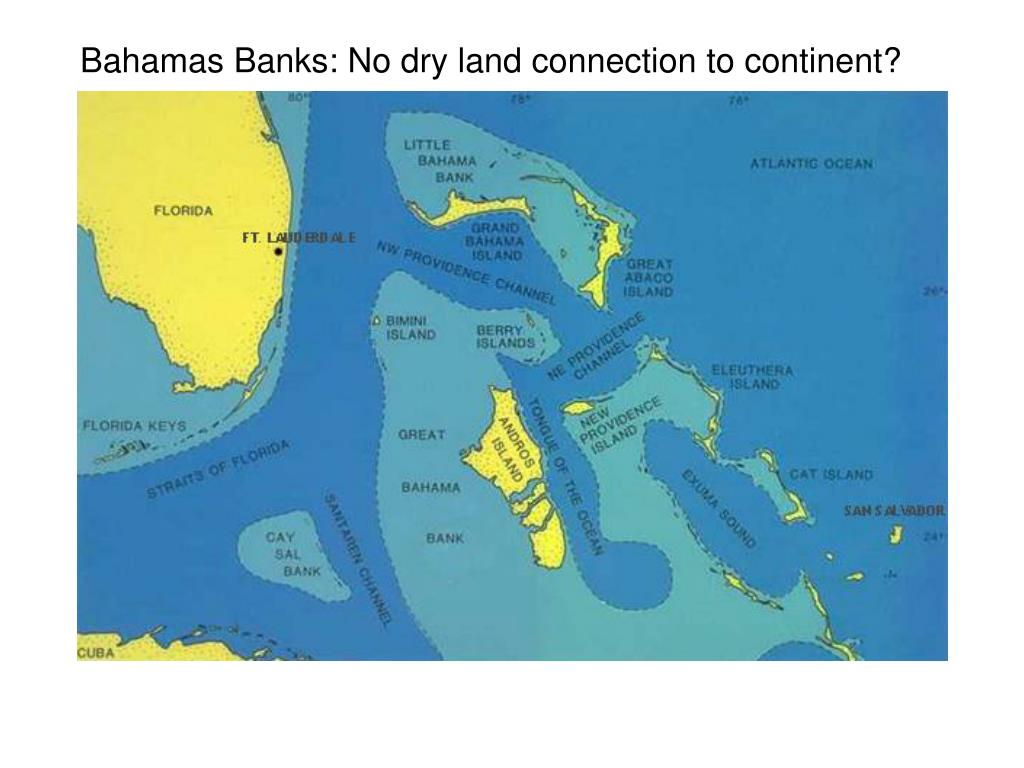 Bahamas Banks: No dry land connection to continent?