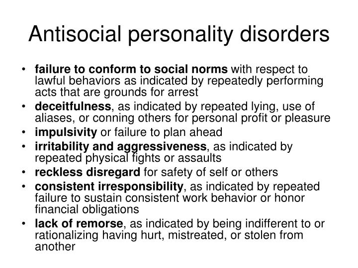 Antisocial personality disorders