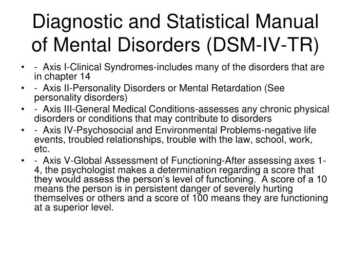Diagnostic and Statistical Manual of Mental Disorders (DSM-IV-TR)