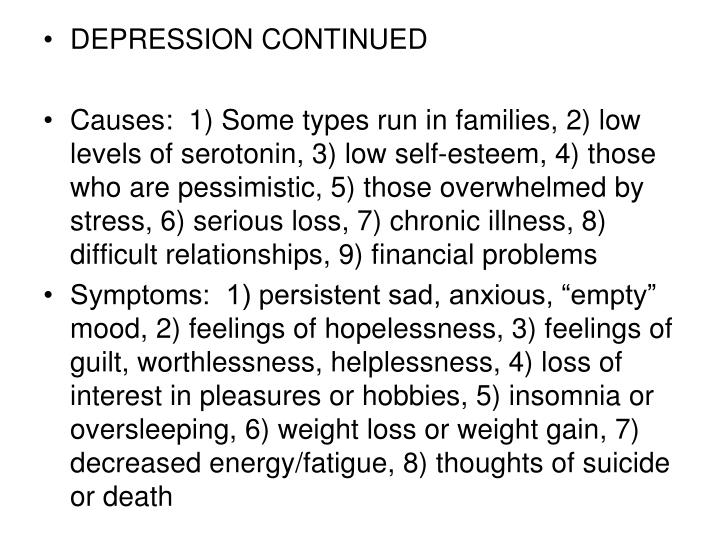 DEPRESSION CONTINUED