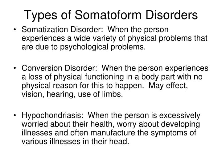 Types of Somatoform Disorders