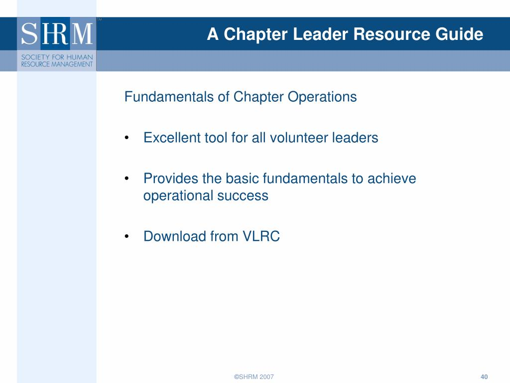 A Chapter Leader Resource Guide