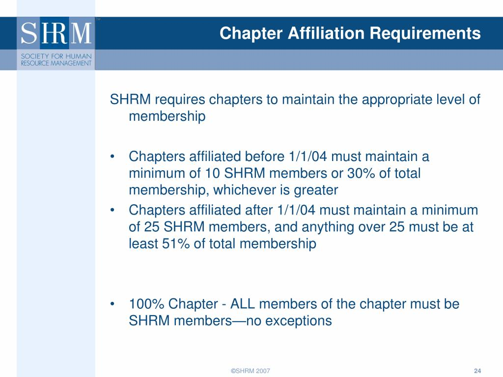 Chapter Affiliation Requirements