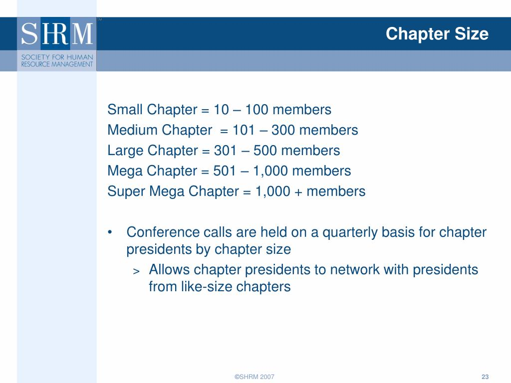 Chapter Size