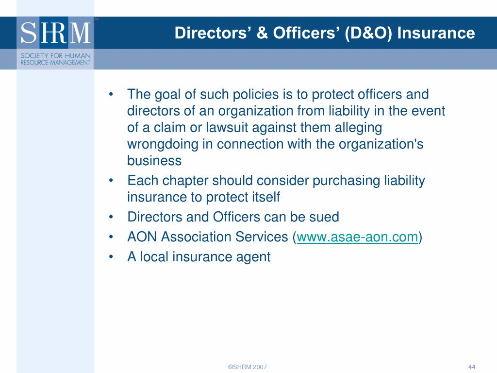 Directors' & Officers' (D&O) Insurance