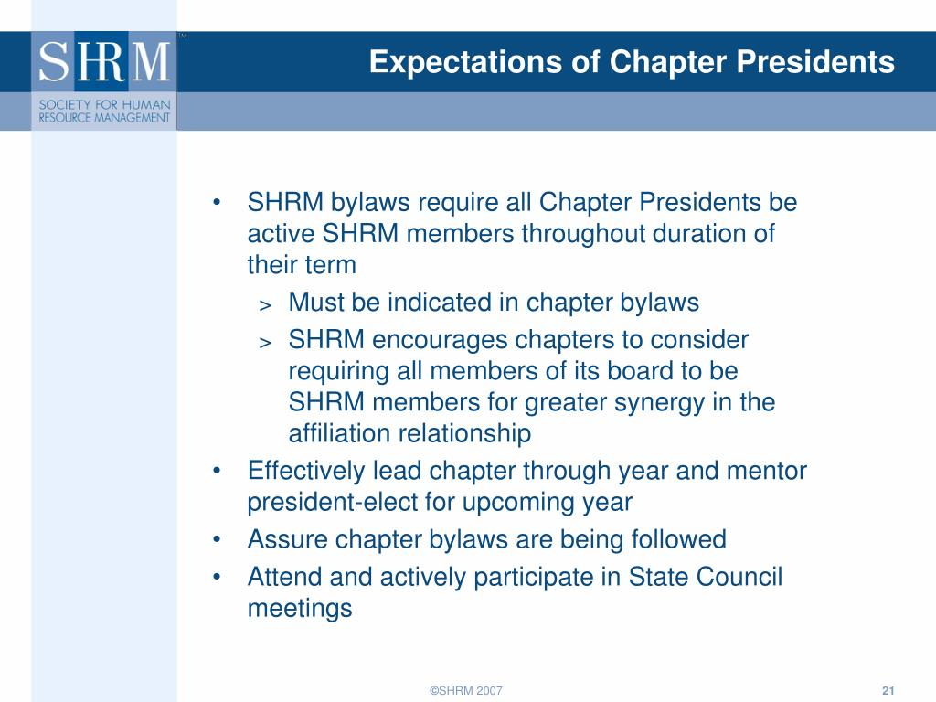 Expectations of Chapter Presidents