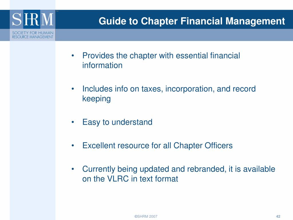 Guide to Chapter Financial Management