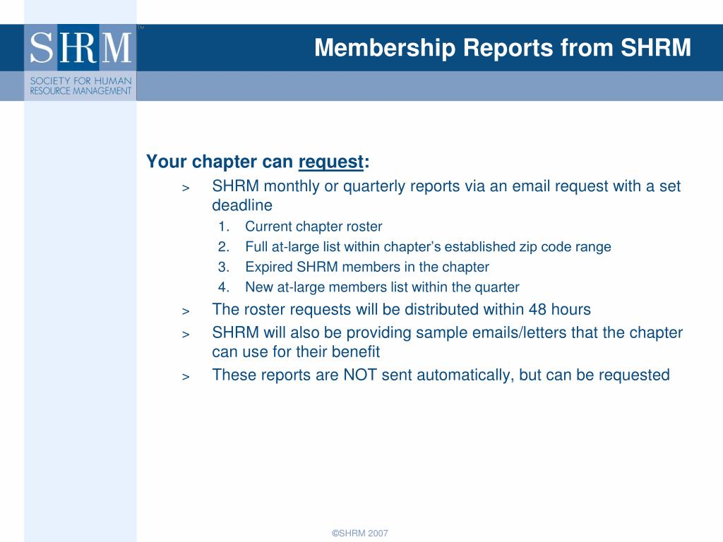 Membership Reports from SHRM