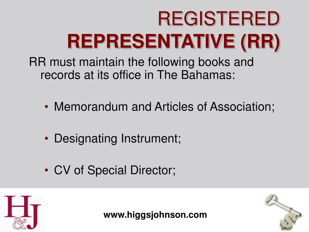 RR must maintain the following books and records at its office in The Bahamas: