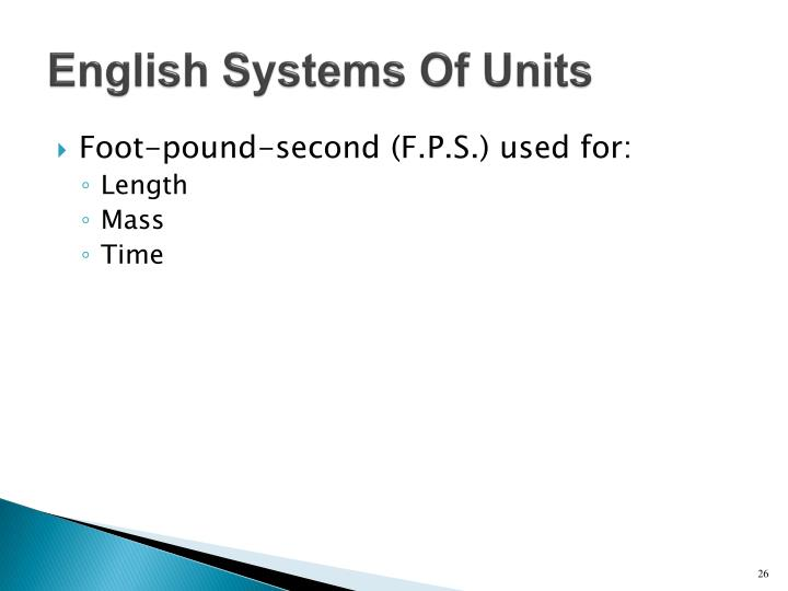 English Systems Of Units