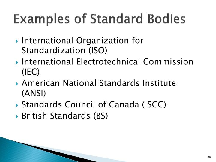 Examples of Standard Bodies