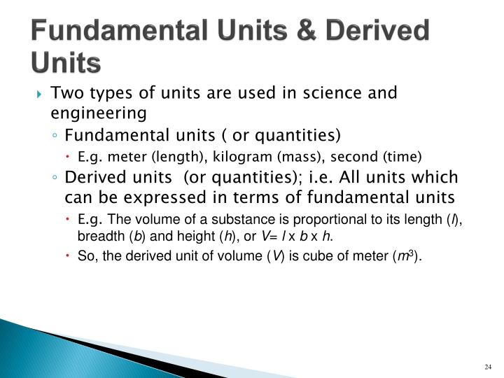 Fundamental Units & Derived Units