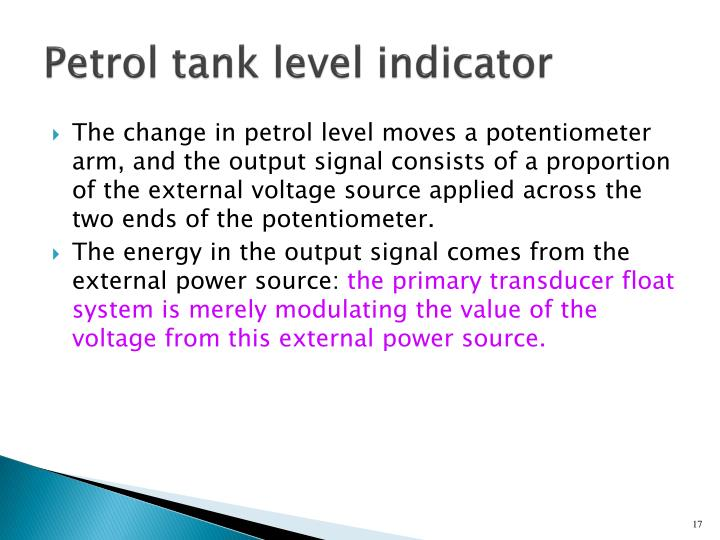 Petrol tank level indicator