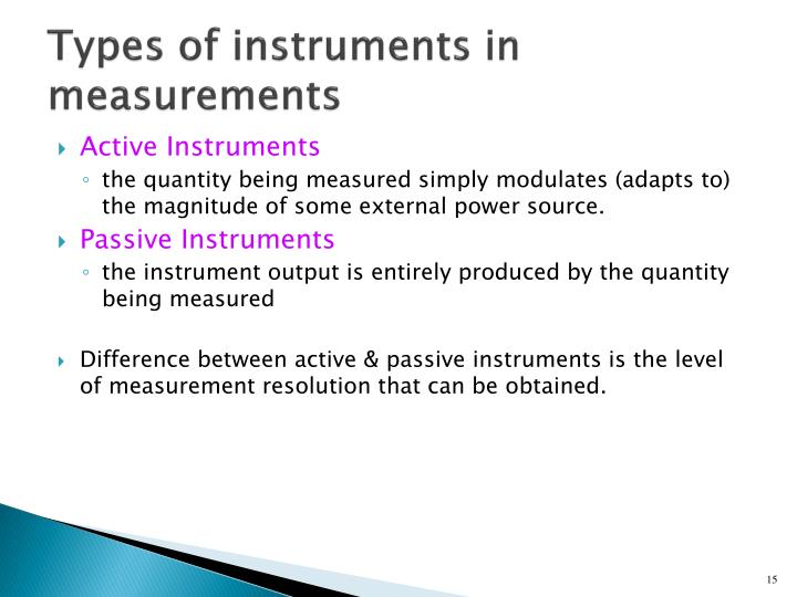 Types of instruments in measurements
