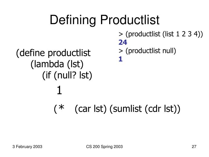 Defining Productlist