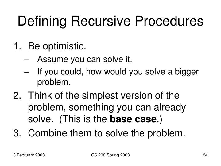 Defining Recursive Procedures