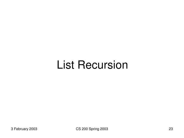 List Recursion